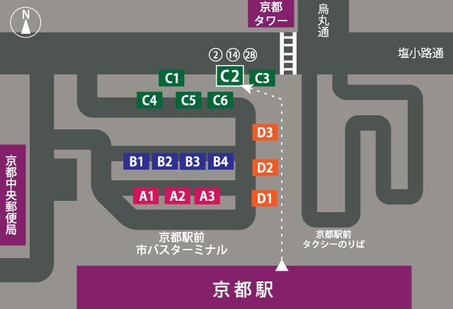 京都駅前のバスターミナル