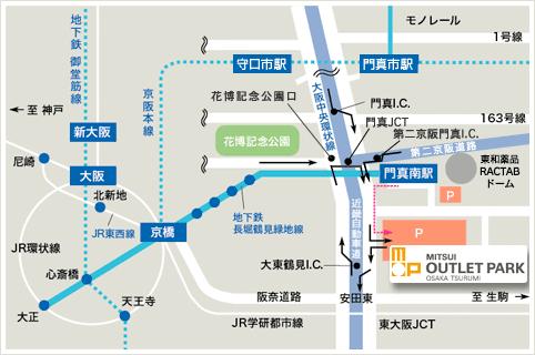 三井アウトレットパーク大阪鶴見への地図